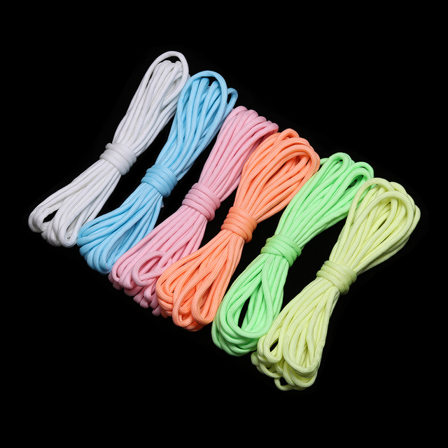 High Quality 3/5/10 Meters Survival Paracord Luminous Rope Camp Glow Paracord 550LB 7 Strands Lanyard Ropes Outdoor Ropes 3