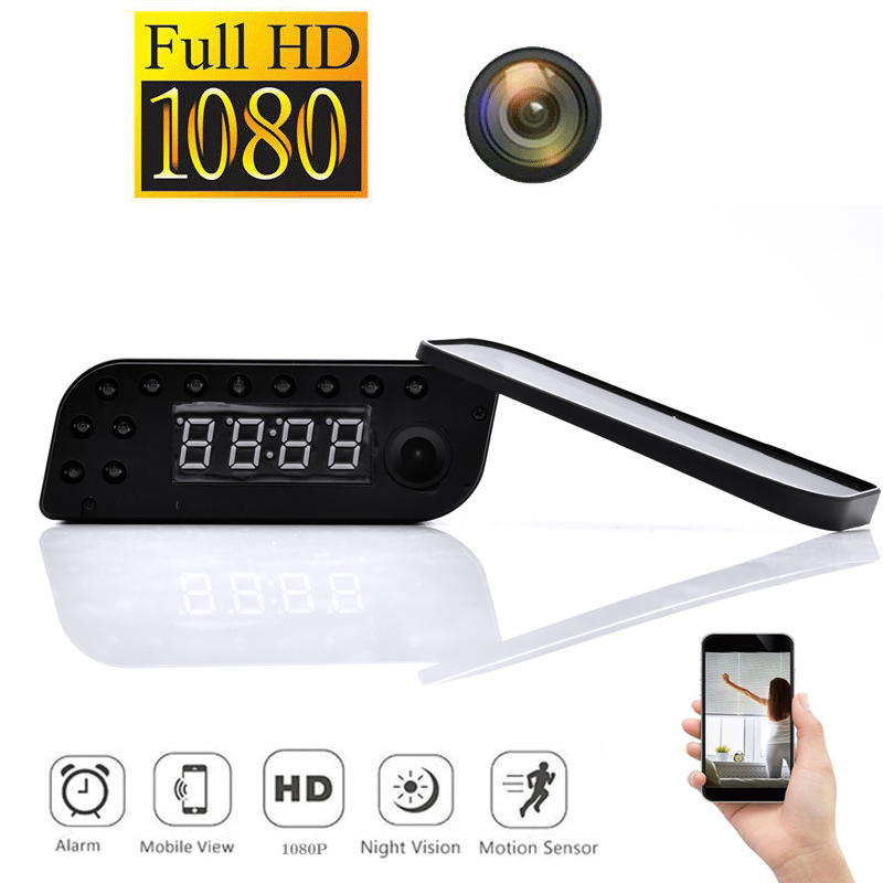 Top Deals 1080P WIFI Mini Camera Time Alarm Wireless Nanny Clock P2P Security Night Vision Motion Detection Home Security