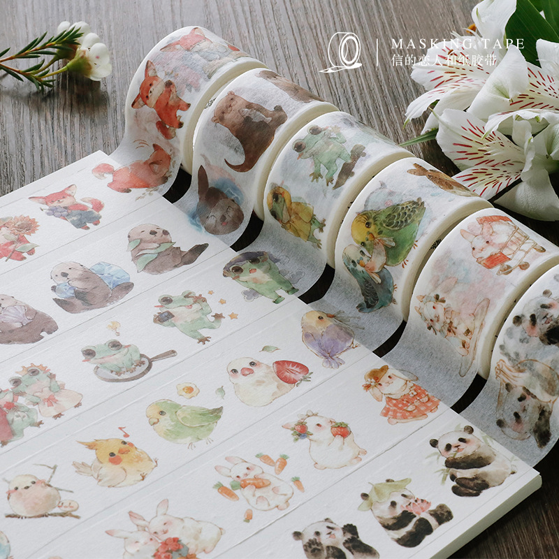 Lovely Animals Fox/Rabbit/Panda/Frog/color Mushroom/Leaf/fruit Washi Tape DIY Planner Diary Scrapbooking Masking Tape Escolar