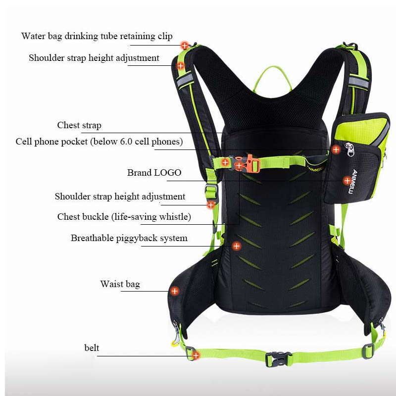 ANMEILU 20L Travel backpack Waterproof Nylon Camping Hiking Rucksack Outdoor Travel Sport Cycling Backpack With Rain Cover Bags