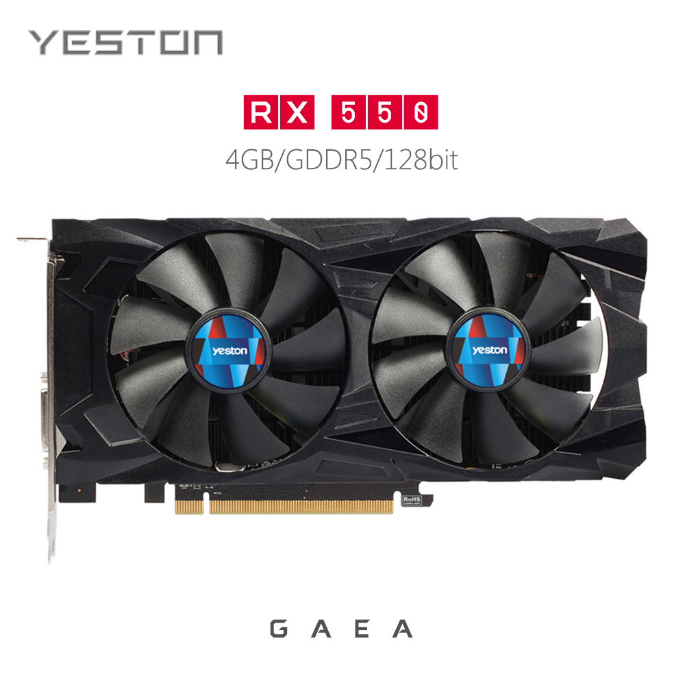 цена Original Yeston RX550 4G D5 Video Graphics Card for Gaming 14nm 1183MHz 128Bit DP / HDMI / DVI-I