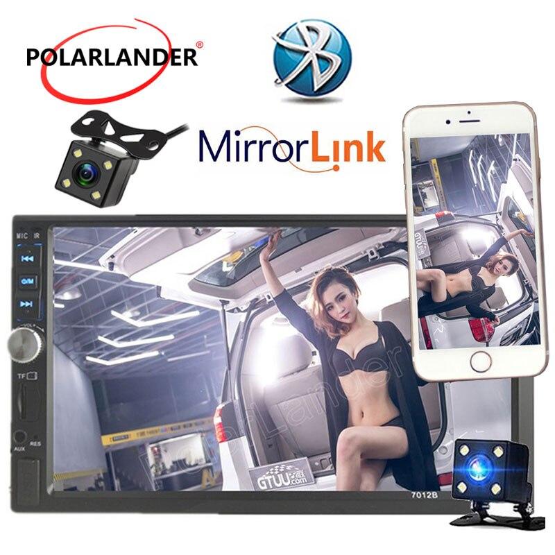 Nouveau 7 2 DIN Voiture Radio MP4 MP5 Lecteur Écran Tactile Bluetooth Stéréo FM USB TF commande au volant miroir Lien Pour Andriod