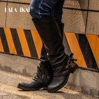 LALA IKAI Boots Women Knee High PU Black Winter Shoes Med Heel Buckle Zipper Weatern Leather Studded Boots 014A2702 49