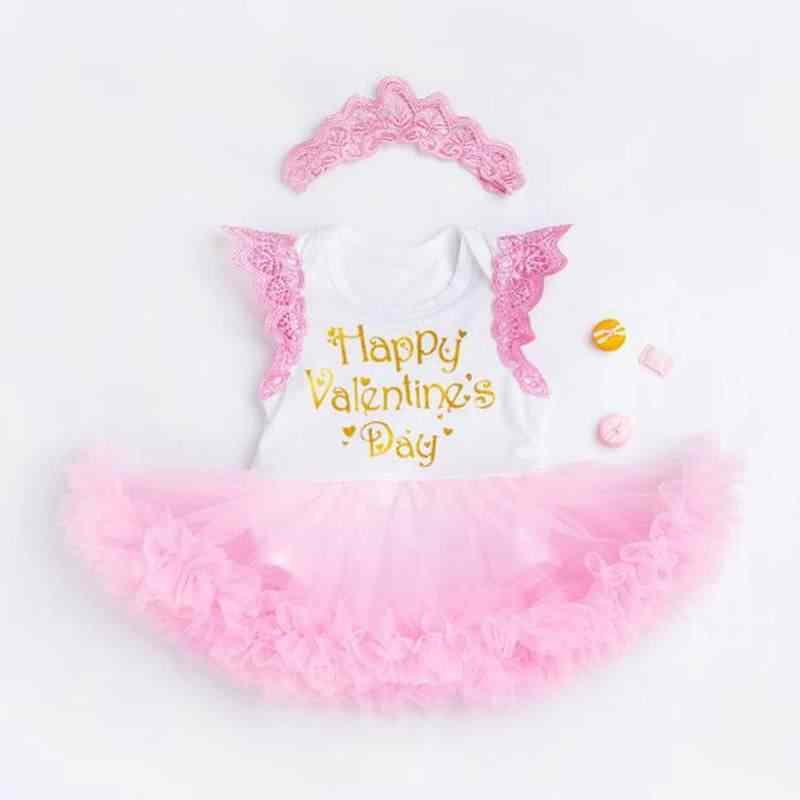 b2186cd25c107 ... Happy Valentine s Day Pink Lace Romper Dress Headband Newborn Tutu Sets Girls  Valentine Outfit Baby Girl