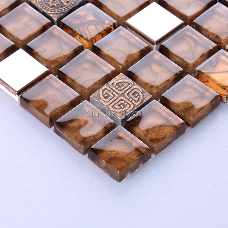 brown mosaic tile backsplash cheap crystal glass sheet bathroom ...