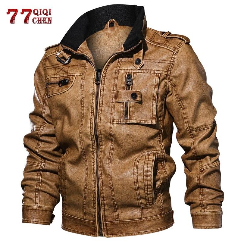 6XL 7XL cuir synthétique polyuréthane pour hommes veste décontracté Slim manteau militaire Bomber veste Outwear grande taille moto Biker Faux cuir vestes