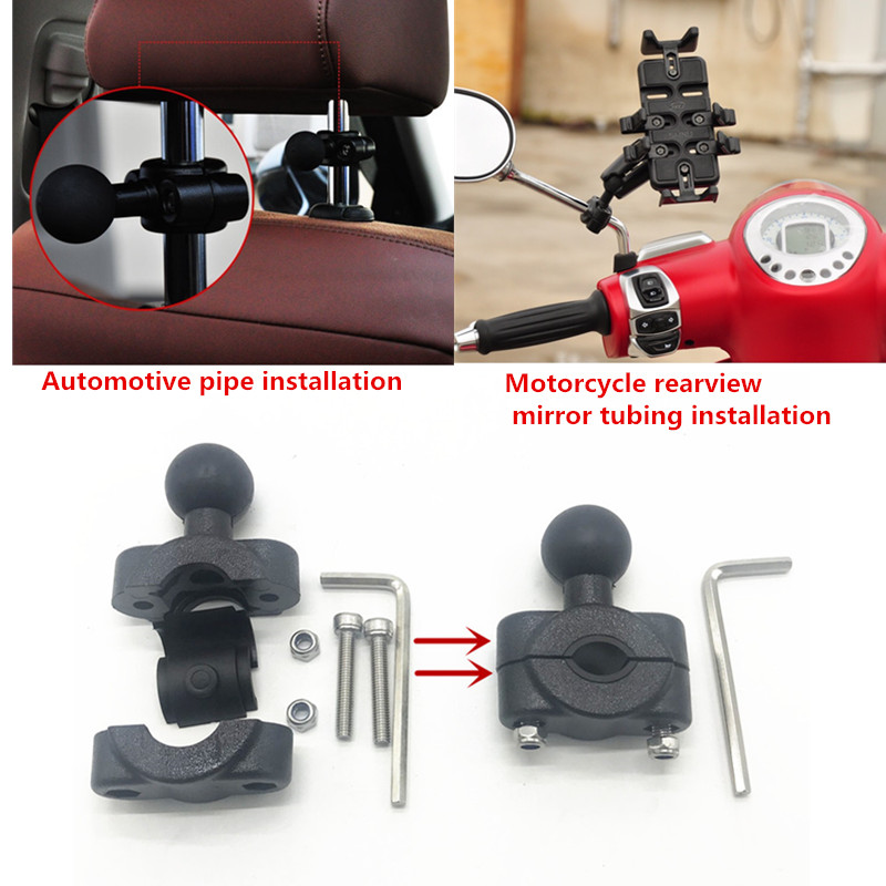 Image 3 - Ball Head Black Phone GPS Holder Mount Motorcycle Base with 10mm Hole autocycle Stand for Gopro Xiaomi for iPhone-in Sports Camcorder Cases from Consumer Electronics