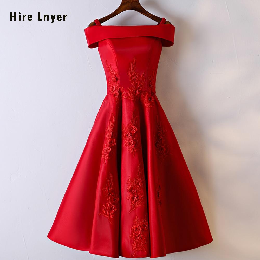 HIRE LNYER 2019 Newest Formal Gowns Boat Neck Lace Up Appliques Flowers Red Satin Tea-Length   Bridesmaid     Dresses   Vestido Longo