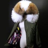 Зимние женские модные уличные роскошный реального норки Мех животных лайнер Армейский зеленый Курточка бомбер мини парка пальто с капюшон