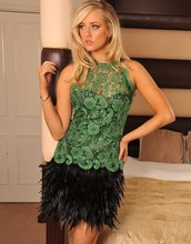 Vestido Curto De Formatura Short Lace Homecoming Dress With Feather Sexy Girl Sheer Lace Crew Neck Sleeveless Mini Party Dress