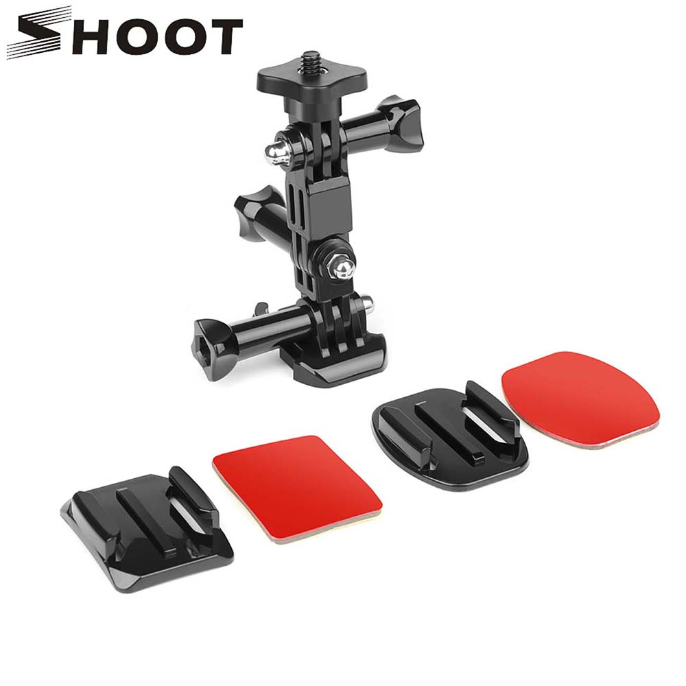 цена SHOOT Action Camera Helmet Tripod Mounts for GoPro Hero 7 5 6 Xiaomi Yi 4K SJCAM SJ4000 SJ5000 SJ7 h9 Go Pro 6 7 Accessories Set