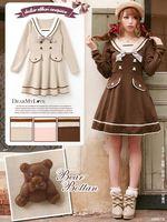 2018 autumn sailor collar preppy styles Japan navy style high waist slim long sleeve one piece dress brown bear kawaii dresses