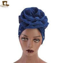 새로운 패션 여성 이슬람 파란색 된 반짝이 터 번 인도 모자 큰 꽃 머리띠 웨딩 파티 머리 잃을 머리 랩 액세서리