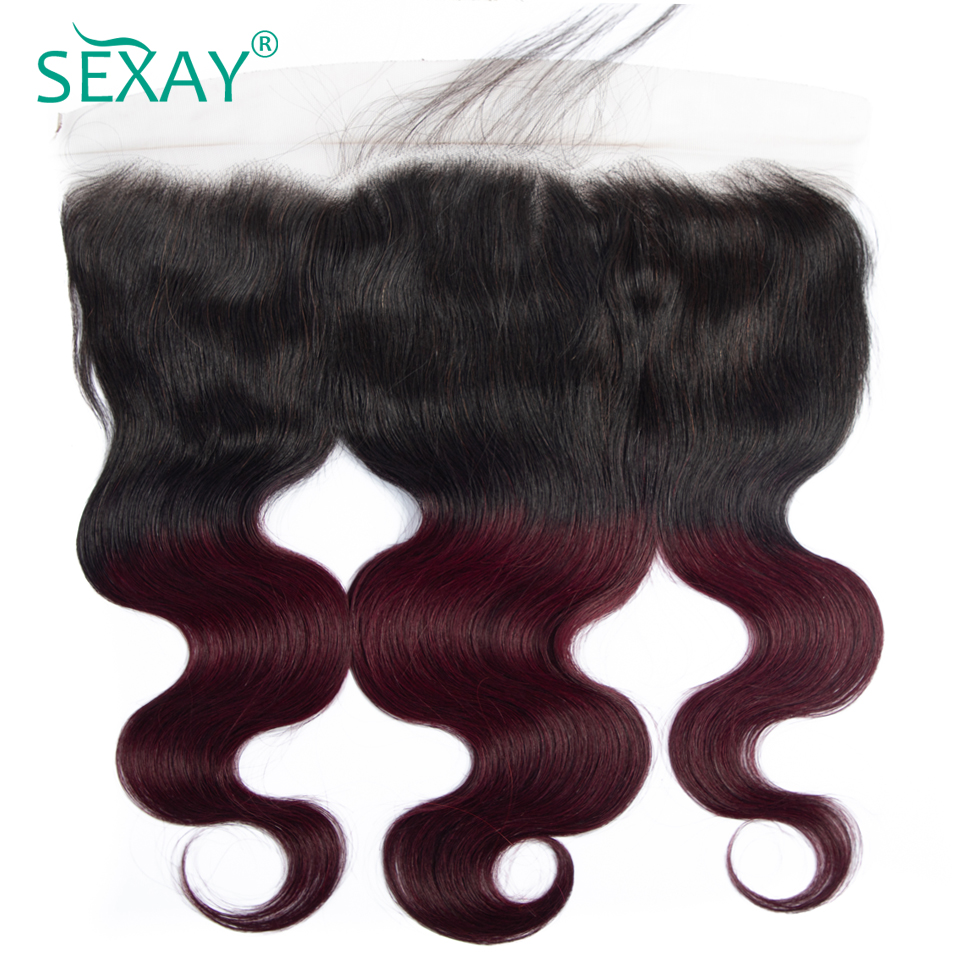 Pre Plucked Lace Frontal SEXAY 1B/Burgundy Ombre Brazilian Body Wave Non Remy Hair 13x4 Lace Frontal Closures With Baby Hair