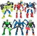 Decool 1 шт./лот Super Hero Factory Железный Человек Халк Бэтмен Капитан Америка Клоун Зеленый свет человек робот строительных блоков Leping