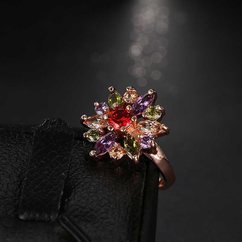 Emmaya ขายร้อนสีสัน Zircon แหวนทองสีสวยดอกไม้หมั้นแหวนเครื่องประดับงานแต่งงานอุปกรณ์เสริม