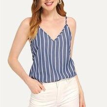 купить 2019 Summer Girl Sexy V-Neck Striped Print Backless Sling Tank Tops Sleeveless Vest Holiday Women Going Out Sexy Tank по цене 181.06 рублей