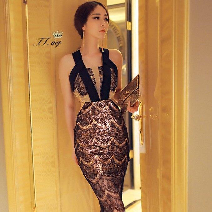09e210306 Europa e américa moda primavera e verão nova chegada preto Sexy Bandage  magro quadril fino vestido de uma peça