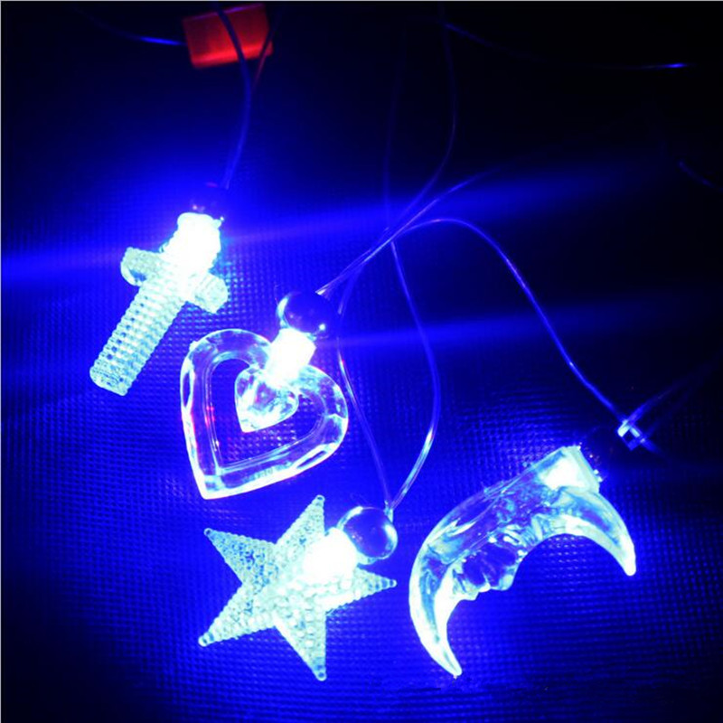 2018 LED Flashing Rope Necklace Light Up Moon Star Crystal Pendant Necklaces Dance Glow Party Christmas Navidad New Year