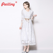Peritiny White Lace Dress Solid A-Line Vestidos Ankle-Length Ribbon Belt Slim Maxi Dress Party Spring Autumn roupas feminina