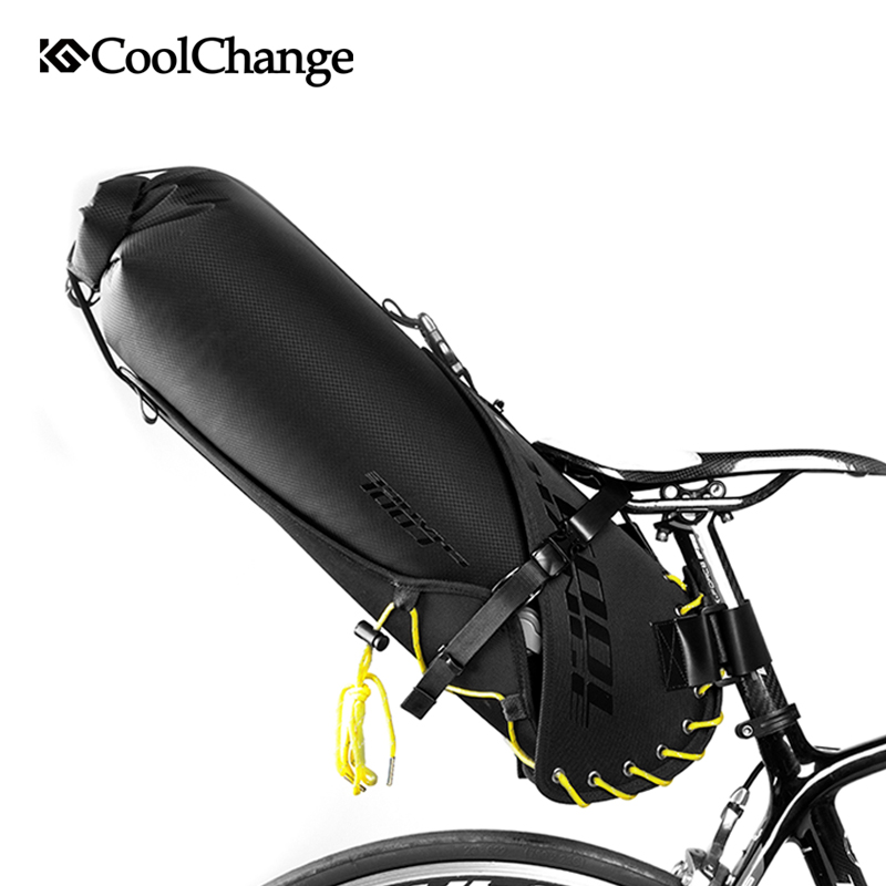 CoolChange Foldable Waterproof 20L Bike Saddle Bag Large Capacity Tail Rear Cycling Bicycle Bag MTB Trunk Pannier Cycle Bag roswheel 20l multifunctional waterproof bicycle bag black pvc cycling trunk rear tail pack bag riding bike bicycle storage bag