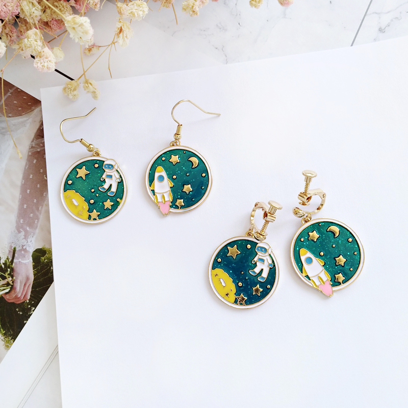 Free shipping Fashion jewelry Wholesale gift South Korea's original earth space star astronaut Fashion Earrings