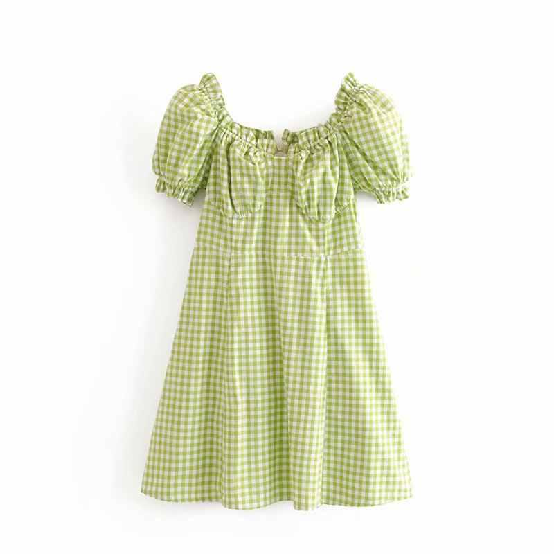 Boho винтажное пляжное зеленое клетчатое платье женское элегантное Плиссированное мини вечерние сексуальные платья с открытой спиной slash Шея летнее платье 2019 vestidos