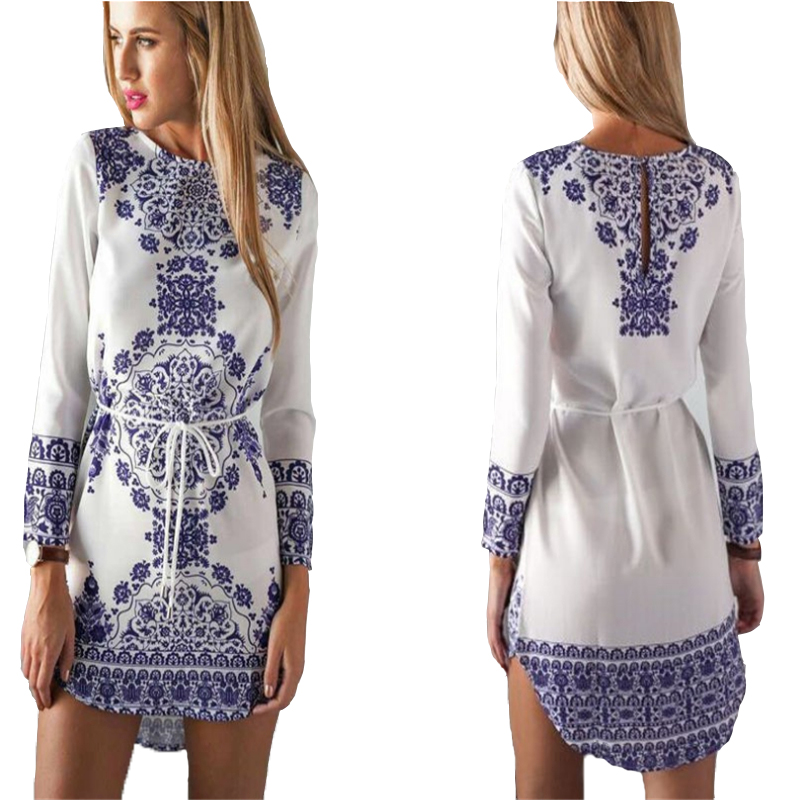 2017 Chinese National Style Blue And White Porcelain Pattern Women Elegant Dresses Long Sleeve Summer Girls