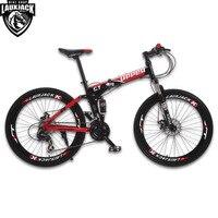 UPPER Mountain Bike Full Suspension Steel Foldable Frame 24 Speed Shimano Mechanic Brake Wheel Whith Spokes