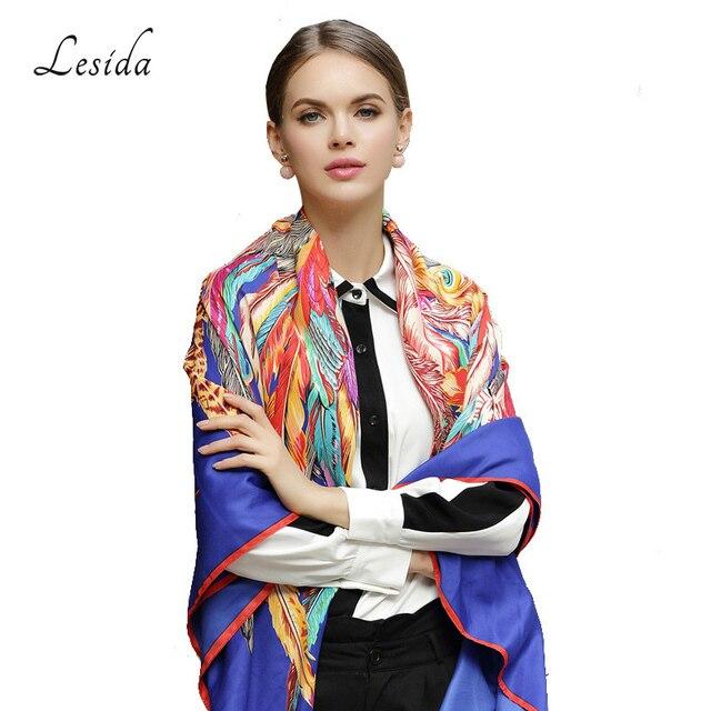 LESIDA 100% Silk Scarf Women Large Shawls Feather Print Stoles Square Bandana Luxury Brand Kerchief Scarf Female Foulard 1306 4
