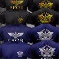 Nova SPQR Senado Romano Roma Militar Facção Águia Camisa Do Logotipo T homens Imprimir Preto O Pescoço de Algodão T-shirt Do Exército Camisa de Manga Curta Top