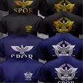 Nueva SPQR Senado Romano Rome Facción Militar Águila Logo Camiseta los hombres de Impresión Negro O Cuello de la Camisa de Manga Corta de Algodón Camiseta Del Ejército Top