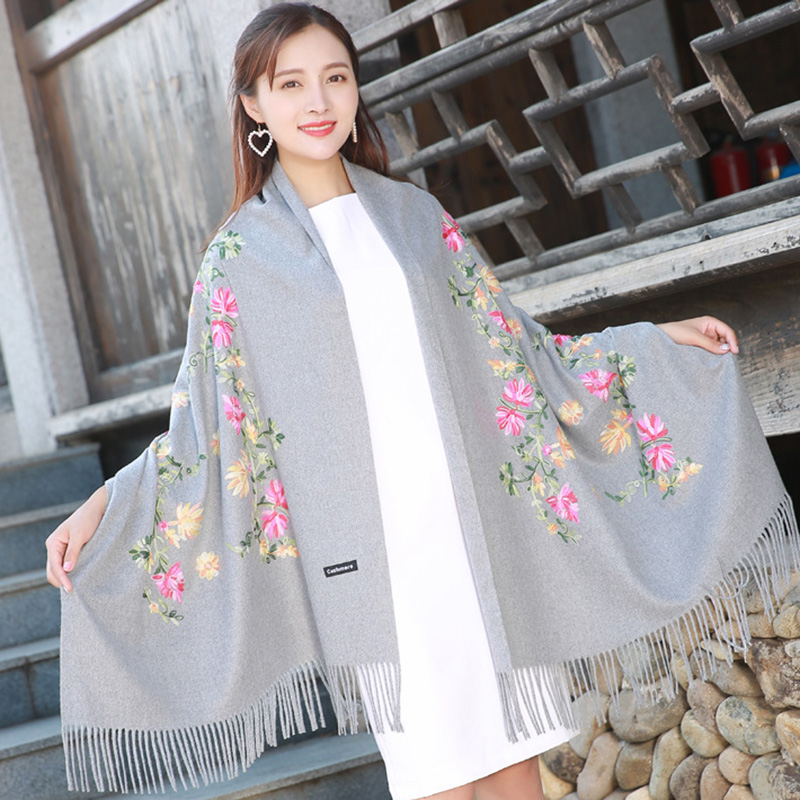 200*70cm Women Print Grey big shawl cashmere shaw cashmere scarves with tassel lady winter warm scarf female party supplies