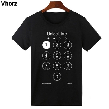 Unlock Me T-shirt Summer Design Funny T Shirts Thermal Transfer Phone Screen One Punch Cotton Cool Tshirt Men Women Lovely Tees