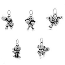 Sale my shape Stainless Steel Cheerleader/Boxing/Skiing/Playing Tennis/Skating Sports Charms Pendant Girl Jewelry For Bracelet 20Pcs