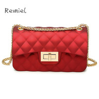 Handbags New Korean Version Of The Summer Matte Frosted Jelly Bag Ling Grid Chain Messenger Bag