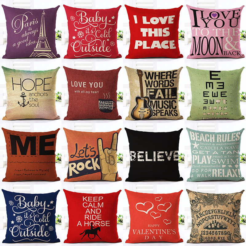 Rock Hope Love Letter Printed Cotton Linen Pillowcase Decorative Pillows Cushion Use For Home Sofa Car Office Almofadas Cojines