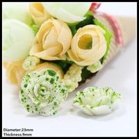 100pcs 23mm Green Flowers Flat Back Rhinestone Reson Diamonds Button Wedding Embellishment Hair Bow DIY Hair