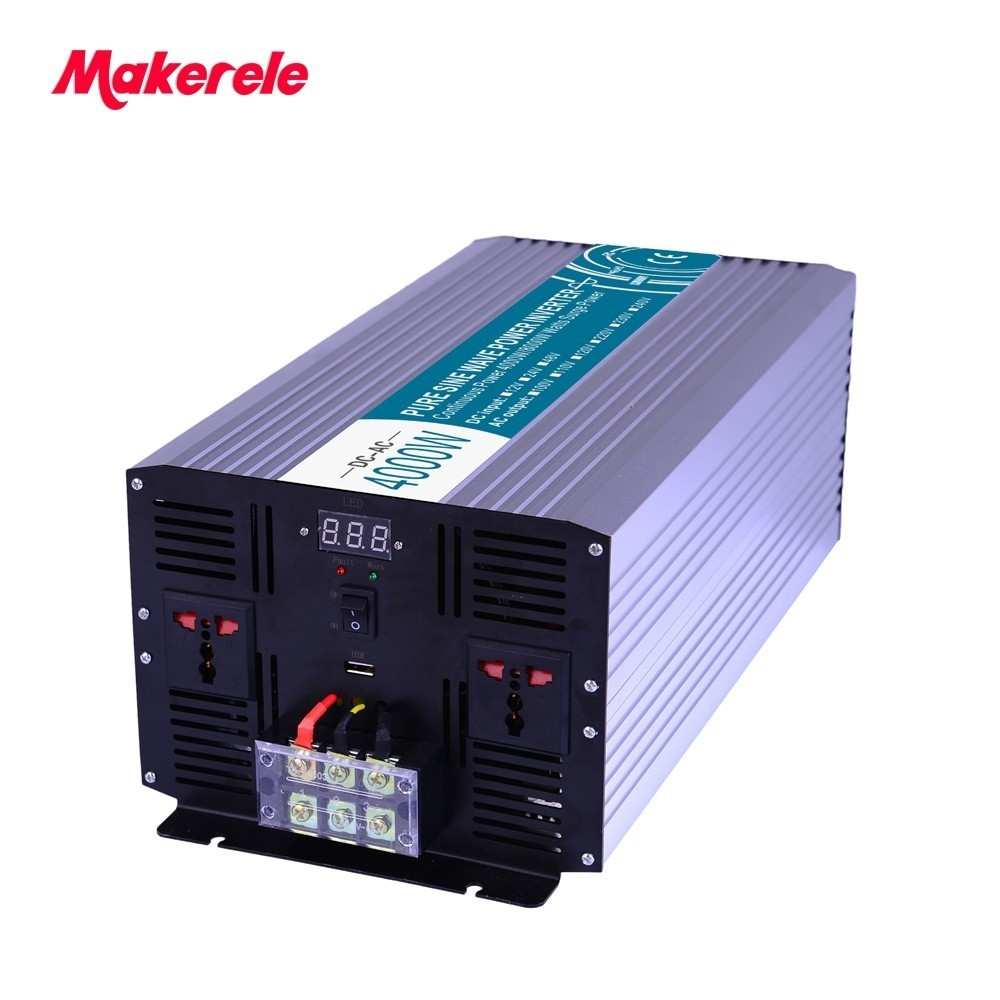 Free Shipping 24vdc 220vac pure sine wave 4000w inverter AC to DC off grid converter MKP4000-242 fan cooling Universal