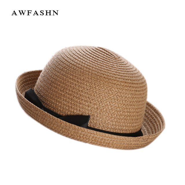 Children S Beach Hat Sun Cute Straw Bow Knot Pure Color Small Ears Summer