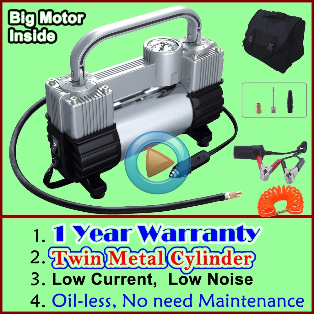 Ce и 1 год гарантии! Оптовая продажа низкий уровень шума двухцилиндровый мини-автомобиля воздушный компрессор автомобильных шин инфлятора д...