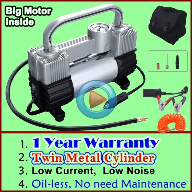 (Men's Gift) 1 Year Warranty Wholesale Low Noise Tire Inflator Double Cylinder Car Air Compressor Car Tire Inflatable Pump