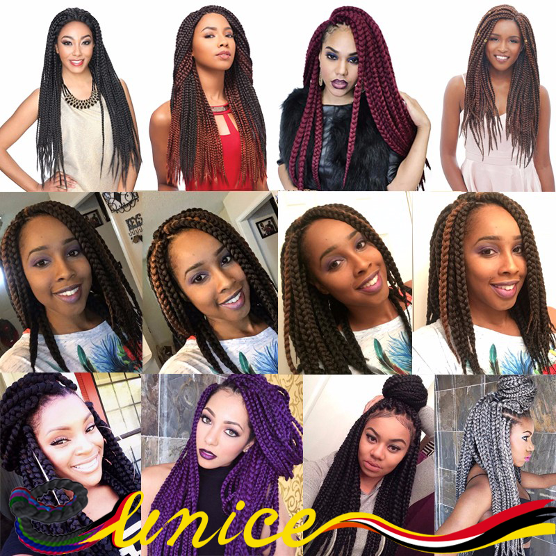 Classical Black 3X Box Braid For All Color Hairstyles 24 inch Long Jumbo Braid Synthetic Crochet