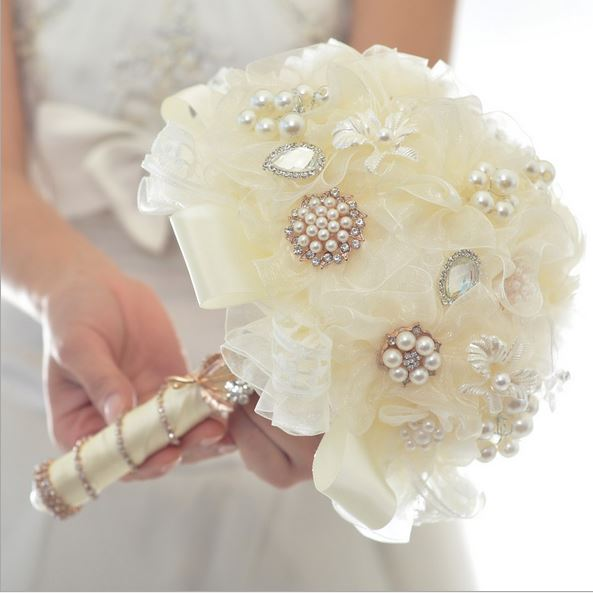 Full yarn end holding flower bouquet ivory pearl wedding wedding full yarn end holding flower bouquet ivory pearl wedding wedding supplies wholesale in wedding bouquets from weddings events on aliexpress alibaba junglespirit Choice Image