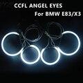 Ультра-Яркий Ccfl Ангел Глаз Кольцо Halo Кольца для BMW E83 X3 E46 Компактный Автомобиль Фар 4 Кольца + 2 Инверторы Ccfl Angel Eyes комплект