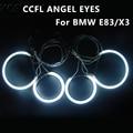 Ultra Bright Ccfl Angel Eye Ring Halo Rings for BMW E83 X3 E46 Compact Car Headlight 4 Rings + 2 Inverters Ccfl Angel Eyes Kit