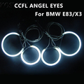 Ultra Brillante Ccfl Ojo Del Ángel de Anillo de Halo Anillos para BMW E83 X3 E46 Compacto Linterna Del Coche 4 Anillos + 2 Inversores Ccfl Angel Eyes Kit