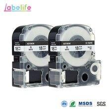 2 упаковки SS18K черный на белом 18 мм производитель этикеток лента Этикетка картриджа кассеты заправки для Epson LabelWorks этикетки принтеры LW-300