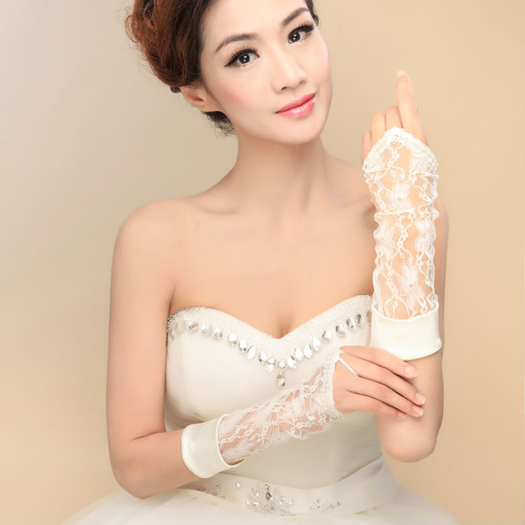 2015 wedding accessories fingerless elbow length lace women guantes stock bridal gloves vestido 2M029 - ebelz forever store