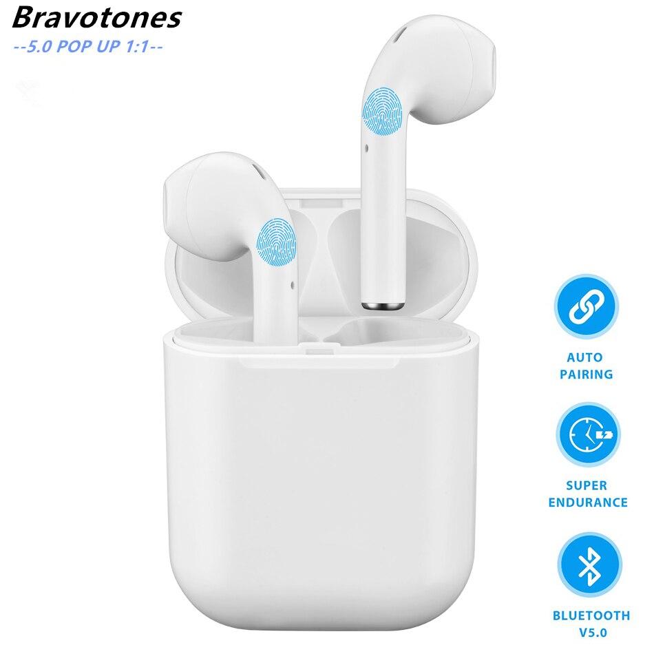 Na Orelha 5.0 POP Up Fones de Ouvido Sem Fio Do Fone de Ouvido Bluetooth Esportes fone de Ouvido Fones De Ouvido com Microfones Duplos para Todos Telefone Inteligente